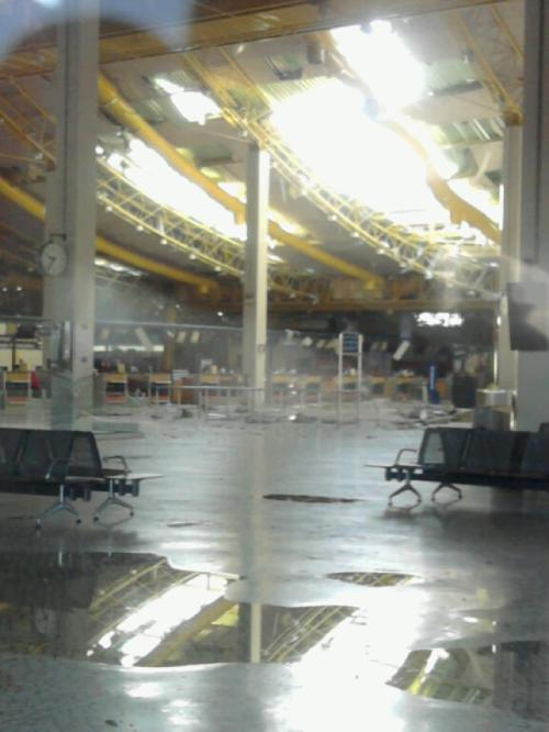 Faro Airport after high winds and storm 24/10/2011